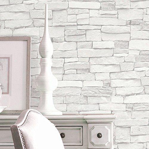 Blooming Wall 5701 3D Faux Brick Stone Wall Mural Wallpaper for Bathroom Kitchen Livingroom Bedroom,Large Size,54 Square ft/roll,Whitegray