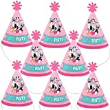 Big Dot of Happiness Pawty Like a Puppy Girl - Mini Cone Pink Dog Baby Shower or Birthday Party Hats - Small Little Party Hats - Set of 8