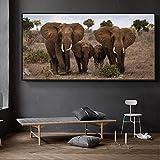 WAFENGNGAI cuadros nórdico Animales en blanco y negro Póster Impresión Lienzo Elefante salvaje africano Imagen familiar en la pared Decoración del hogar-70X140Cm Sin marco