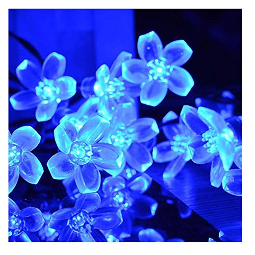 USThirty 5M 50LED Solar Power Transparent Flower Shape Multicolors Lights String Delicate Lantern String for Garden Balcony Terrace Holiday Decoration