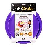 Safe Grabs: Multi-Purpose Silicone Original Microwave Mat as Seen on Shark Tank | Splatter Guard, Trivet, Hot Pad, Pot Holder, Minimize Mess (BPA Free, Heat Resistant, Dishwasher Safe),Set of 2 Purple