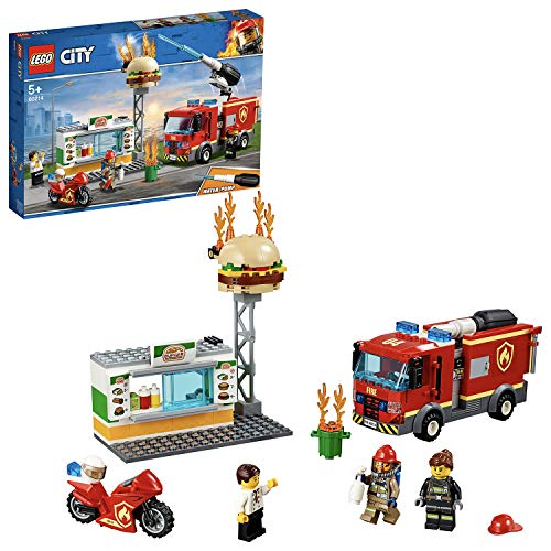 LEGO 60214 City Fire Burger Bar Fire Rescue Building Set with Fire Engine Truck and Motorbike Toy Vehicles, Fireman Minifigure and Fire Response Unit Accessories