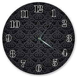 EasySells 10.5 Amazing Black Damask Pattern Clock - Large 10.5 Wall Clock - Home Décor Clock
