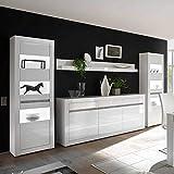 Pharao24 Design Wohnwand in Weiß Hochglanz und Beton Grau Sideboard Ohne Beleuchtung Energieeffizienzklasse