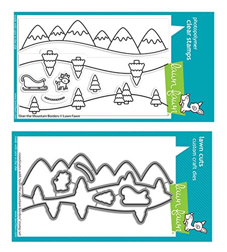 Lawn Fawn Over The Mountain Borders 4x6 Clear Stamp Set and Coordinating Dies (LF2419, LF2420), Bundle of 2 Items