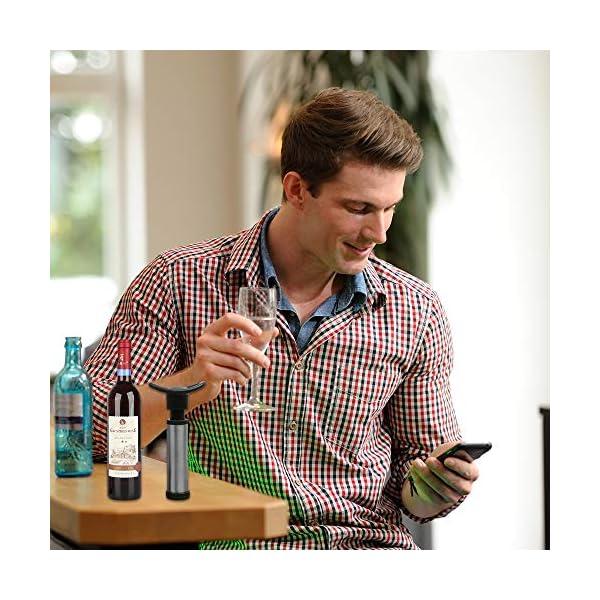 SENHAI – Bomba de vino con 15 tapones para botella de vino, dispensador