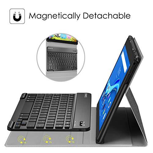 Fintie Tastatur Hülle Kompatible für Lenovo Tab M10 TB-X505F / TB-X505L / TB-X605F / X605L, Slim Schutzhülle mit magnetisch Abnehmbarer Deutsches QWERTZ Bluetooth Keyboard, Dunkelgrau