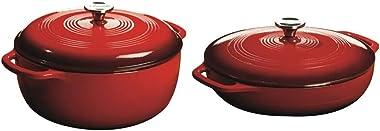 Lodge 7.5 Quart Dutch Oven. XL Red Enamel Dutch Oven (Island Spice Red) & 3.6 Quart Cast Iron Casserole Pan. Red Enamel C