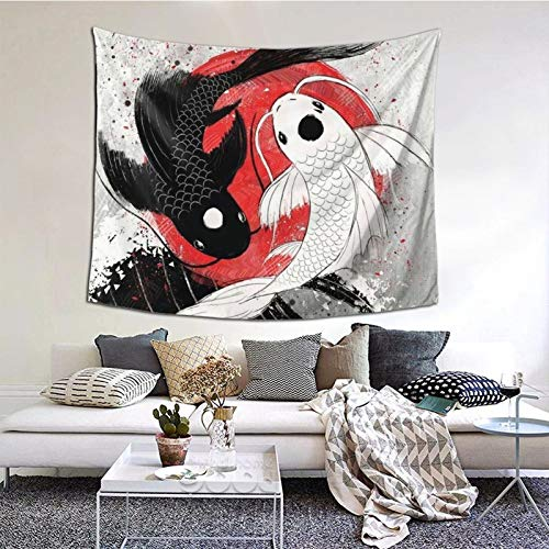 Gearsly Koi Fish Yin Yang Japanese Style Tapestry Bedroom Tapestries Living Room Wall Hanging Blanket 3D Printing Home Decor 60 X 51 in