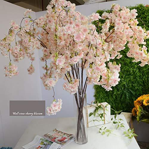 HYLZW Kunstbloem potplant 136 cm Kunstmatige kersenbloesem wijnstokken Oriental simulatie huis bruiloft tuin party winkel decoratie luxe kersen vervalste bloemen
