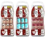 Beautia 3 Pack 60Tips So Cute Junior False Fake Design Nails, Sticker Nail for Kids