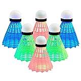 Senston LED Federball 6 Stück Badminton Beleuchtun Nylon