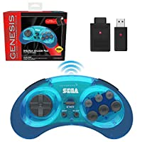 retro-bit SEGA Genesis® 8-Button Arcade Pad 2.4GHz Wireless Clear Blue レトロビ...