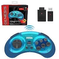 retro-bit SEGA Genesis® 8-Button Arcade Pad 2.4GHz Wireless Clear Blue レトロビ...