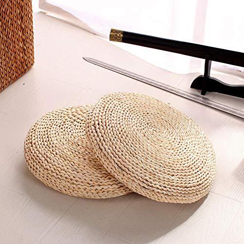 2pcs tatami futón meditación Cojín natural hecho a mano tejido paja del amortiguador de asiento del espesamiento Yoga Círculo cáscara de maíz trenza de la paja Mat estilo japonés cojín con 16*16inch