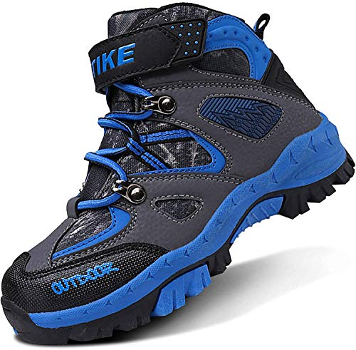 ASHION Kinder Winterschuhe Wanderschuhe Mid Schneestiefel Mädchen Trekkingl Stiefel Jungen Baumwollschuhe Warm Wanderstiefel(B Blau,27 EU)