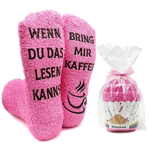 iZoeL Flauschsocken damen Lustige Socken Witzige Spruch wenn du das lesen kannst bring mir Kaffee Kuschelsocken Cupcake Socken (Pink Kaffee)