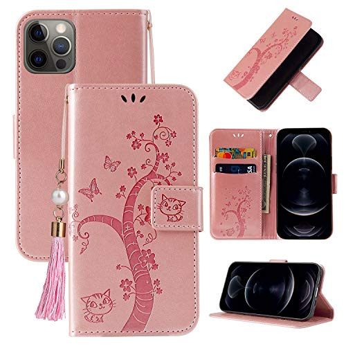 Miagon Wallet Flip Case for iPhone 11 Pro Max,Lovely Butterfly Tree Cat Design PU Leather Book Style Stand Function Cover,Rose Gold