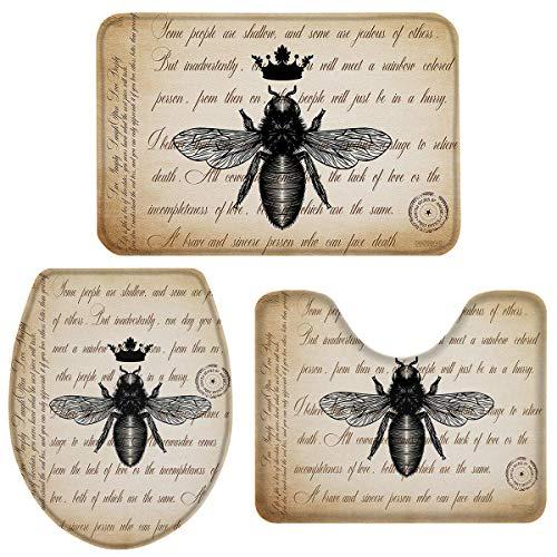 JONINOT W40cm x L60cm 3 Piezas Alfombra De Ducha Almohadilla Letra de Abeja Vintage Absorbentes Protector Antideslizante Impermeable Estera