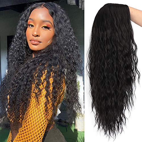 Lativ Long Curly Wigs for Women Black Long Wavy Curly Middle Part Synthetic Hair Wigs Heat Resistant Fiber Wig Natural Looking for Everyday Wear Cosplay Use