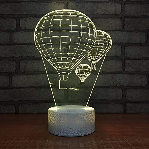 KangYD 3D Night Light Hot Air Balloon Shape, LED Optical Illusion Lamp, E - Alarm Clock Base(7 Color), Room Lighting, Modern Decor, Kid Lamp, Gift for Friend, Colorful Change