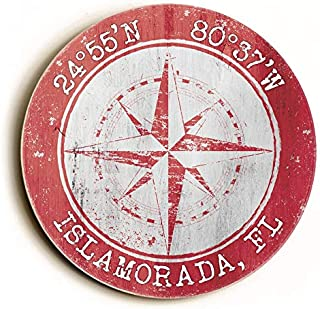 Custom Coordinates Round Compass Rose Coral Sign Latitude Longitude Sign Latitude Longitude Wall Decor Personalized Nautical Sign