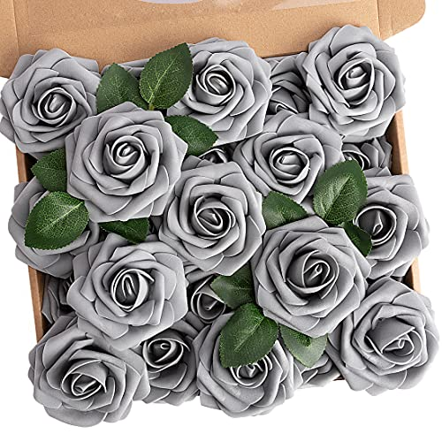 N&T NIETING Künstliche Blumen Rosen, 25 Stück Kunstblumen Gefälschte Rose mit Stielen DIY Hochzeit Blumensträuße Braut Zuhause Dekoration, Grau