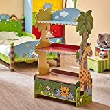 Fantasy Fields Sunny Safari Animal Wooden 3 Shelves Kids Bookshelf with 1 Drawer Storage Imagination Inspiring Hand Crafted & Hand Painted Details