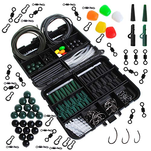 Dr.Fish Carp Fishing Tackle Job Lot in Box Lead Clips Hooks Quick Change Swivel Links Shrink Tubes Rubbers Terminal Tackles, Green Black