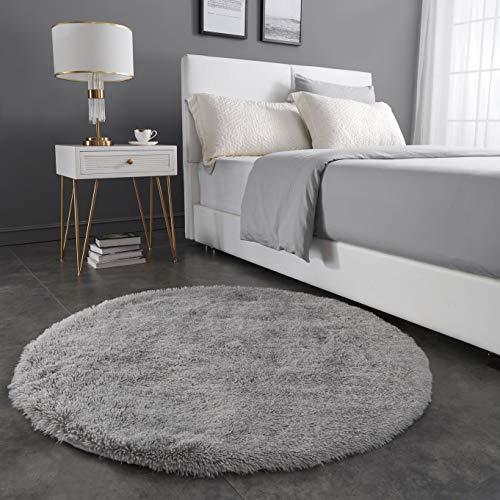 Teppich Wölkchen Hochflor-Plüsch-Teppich I Wohnzimmer Kinderzimmer Schlafzimmer Flur Läufer I rutschfeste Unterseite I 120 rund - Grau