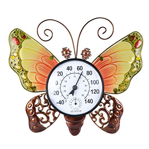 VCUTEKA Thermometer Indoor Outdoor Patio Weather Thermometer Wireless Wall Round Butterfly No Battery Required Hanging Decor Hygrometer