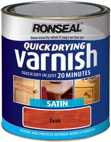 Ronseal QDVST250Lackfarbe 250ml Quick Dry Lack Farbige Satin–Teak