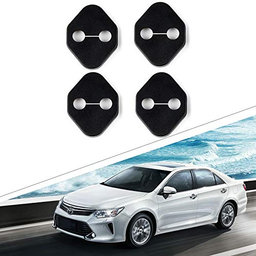 1797 Compatible Door Latch Lock Cover for Toyota Accessories Parts Yaris Corolla Camry Highlander Tundra Interior Buckle Caps Decals Stickers Decorations Anti Corrosion PPE Plastic Soft Black 4 Pack