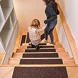 DanceWhale 15er Set Stufenmatten (76.2 x 20.3 cm) Treppenmatten Treppen rutschfest Selbstklebende Treppenteppich, Sicherheit Stufenteppich für Kinder, Älteste und Haustiere, Kaffee - 5