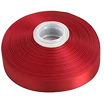 DUOQU 7/8 inch Wide Double Face Satin Ribbon 50 Yards Roll Multiple Colors Red
