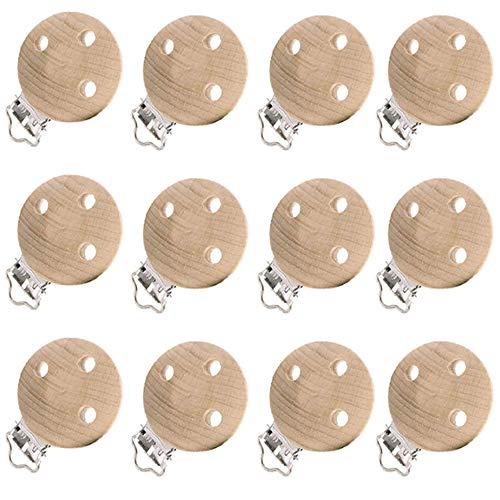 Pinza Chupete Clips de Chupetes Pinza Chupetero Madera, para Bebés Recién Nacidos (12 Piezas)