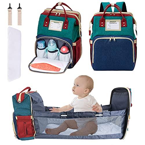 funlarea Wickeltasche mit Wickelstation,3in1 Baby windelrucksack mit Babybett Wasserdichte Mamatasche Reiserucksack Stubenwagen mit USB-Ladeanschluss Faltbare Krippe Kinderwagenhaken für Camping