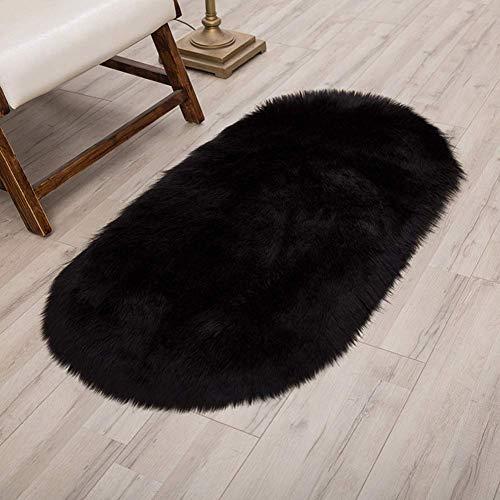 AOIWE Morbido Fluffy Tappeto, Ovale Faux Sheepskin Rugs, con Antiscivolo & Easy Clean, for camere da Letto Soggiorno for Bambini Camere Arredamento, Nero, 80 * 160CM