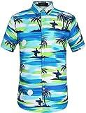 SSLR Camisa Hawaiana para Hombre Manga Corta Casual Straight Fit Verano Palmas (Medium, Azul)