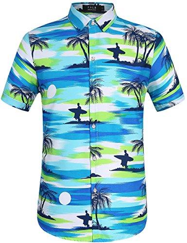 SSLR Camisa Playera Estilo Hawaiano Surfista de Verano para Hombre