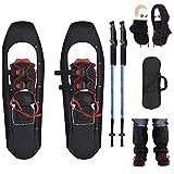 Wxnnx Raquetas de Nieve livianas de 30- Raquetas de Nieve para Terreno montañoso con Punta Cuadrada con Bastones de Trekking y Polainas y Bolsa de Transporte, máscara de esquí