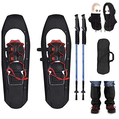 Wxnnx Raquetas de Nieve livianas de 30'- Raquetas de Nieve para Terreno montañoso con Punta Cuadrada con Bastones de Trekking y Polainas y Bolsa de Transporte, máscara de esquí
