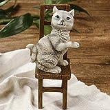 Escultura Estatua Estatuilla de Arte de Gato de la Suerte Gris Lindo de Resina Abstracta Adornos coleccionables estatuillas de Manualidades de Escritorio para Regalo de decoración del hogar
