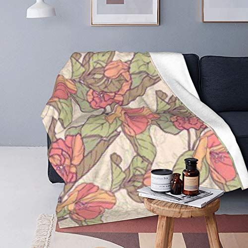 DUTRIX Manta de forro polar ultra suave, redonda, 125 x 100 cm, diseño de flores de manzana