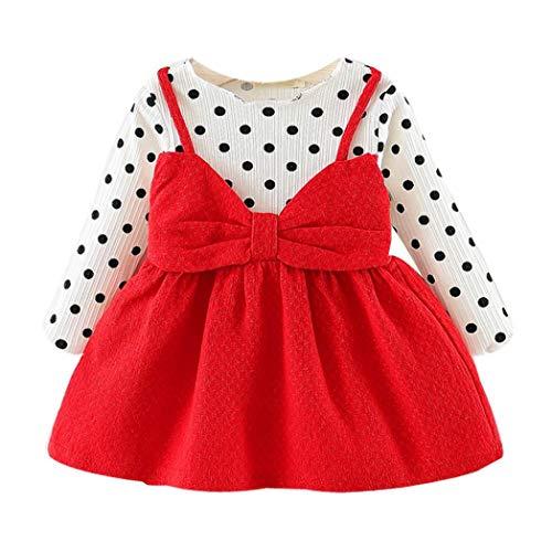 Vetement Fille Vtops Nouveau-né Infantile Bébé Fille Manches Longues Dot Bowknot Robe De Princesse Vêtements Vêtements Robe Fille la Mode Rouge 80