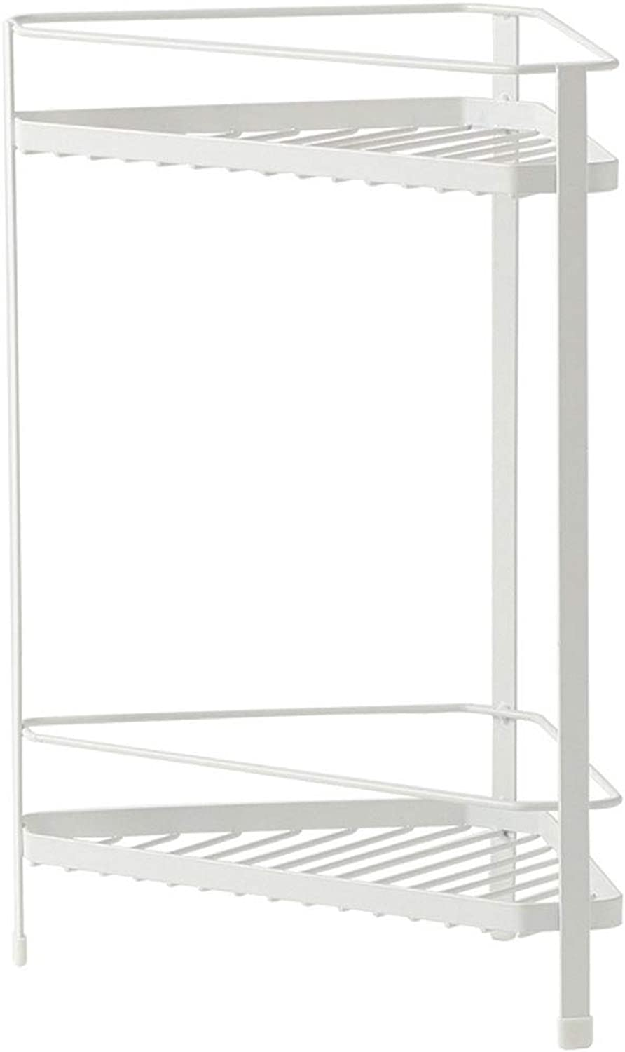 Feifei Storage Rack Wrought Iron White Household Triangle Fan-Shaped Multi-Function 2 Layer Storage Rack 19.5  19.5  39CM