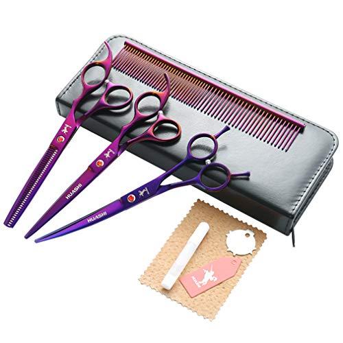 Professionelle Hundepflege Schere 7,0 Zoll Set, 6CR Stahl Premium-Straight & Ausdünnung & Curved Scissors High End 4tlg Set für Hundepflege (lila) mit Tasche