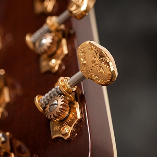 Waverly Guitar Tuners with Engraved Butterbean Knobs, for Solid Pegheads, Gold, 3L/3R