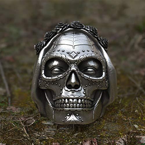 CHCO Goth Santa Muerte Anillo Rose Crown Sugar Skull Anillos De Acero Inoxidable Mujeres Punk Biker Jewelry 10