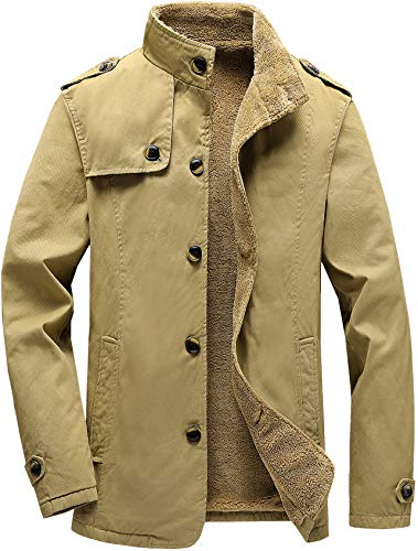Vcansion Men's Winter Cotton Fleece Lined Jacket Single Breasted Outerwear Windbreakers Coats Khaki L